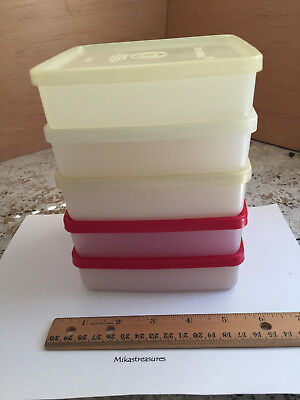 Tupperware Vintage Five Sandwich Keepers: 3 Frost, 2 Frost with Red Seals