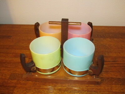 Set of 4 Vintage SIESTA WARE Coffee Mugs Frosted Pastel Colors With Wood Caddy