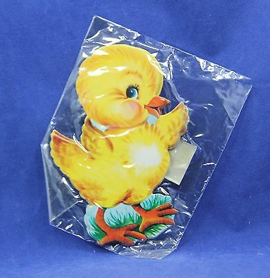 "4 Vintage 1960's Dennison Die cut Easter Chicks  2 5/8"" x 3 3/4""  Unused"