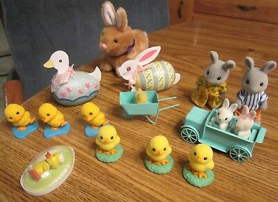 Vtg  Lot 14 Easter Decorations Flocked Fuzzy Baby Bunnies, Ducks, Chicks Etc.