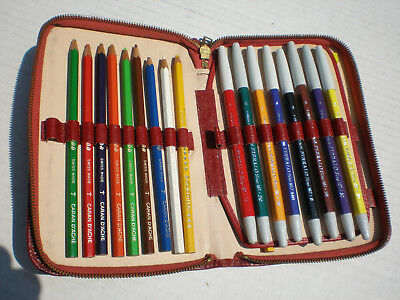 Vintage Caran D Ache Colored Pencil/pens In Case! Swiss Made!
