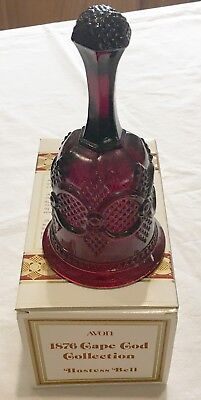 """Avon Vintage 1876 Cape Cod Collection Ruby Red Glass Hostess Bell in Box 6.75"""""""