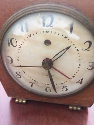 Vintage Westclox Electric Wooden Alarm Clock With Glass Dome Front