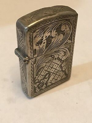 VINTAGE Zippo Lighter - Ornate Engraved Antique 0.800 SILVER CASE circa 1960s