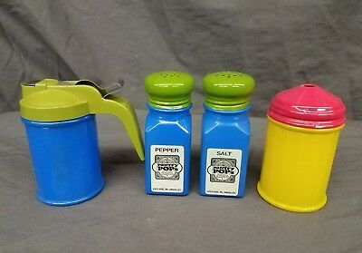 Vintage Gemco USA Pantry Pops Green Blue Salt And Pepper  Sugar Fired On Glass