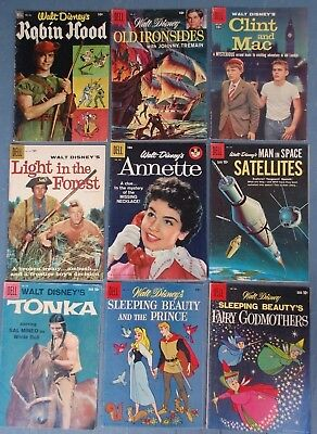 9 Dell Walt Disney Golden & Silver Age Comics / Annette / Sleeping Beauty Tonka
