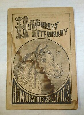 "1873 ""Humphrey's Veterinary Homeopathic Specifics"" horse, animal husbandry old"