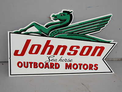 Green Seahorse JOHNSON OUTBOARD BOAT SIGN gas  Modern Retro