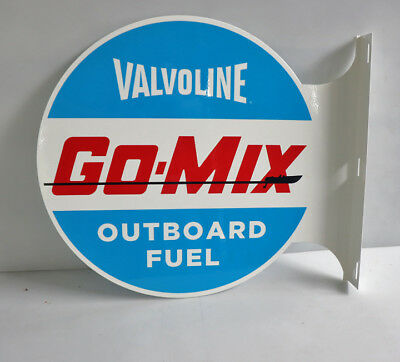 VALVOLINE GO-MIX Diecut Outboard Fuel  Flange Sign  gas oil boat modern retro