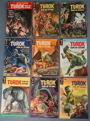 9 Gold Key Silver Age TUROK Comic Books /