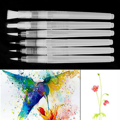 6 x Pilot Water Brush Ink Pen Calligraphy Paint Drawing Tools Watercolour S M L