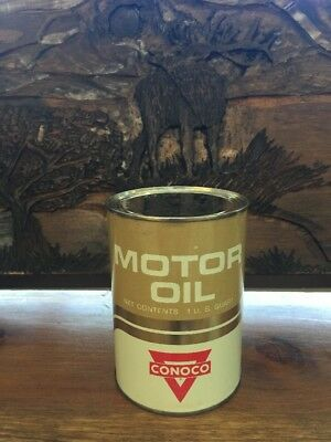 Vintage..Mint Condition..CONOCO..Full..All Metal Oil Can...HOUSTON, TEXAS