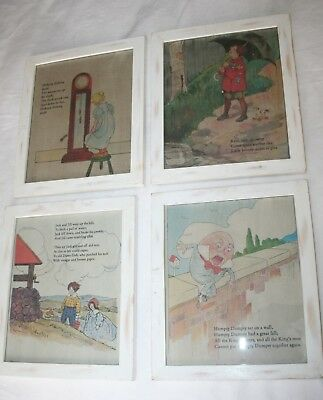 Restoration Hardware SET 4 NURSERY RHYMES PICTURES baby child