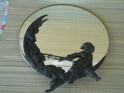 "Antique BRONZE CHERUB Child Tweaking MAN in MOON NOSE 14"" Bevel Glass Mirror"