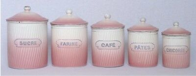 Rare Antique Vintage French Enamel 5 Piece Canister Set ~ Pink & White Ribbed