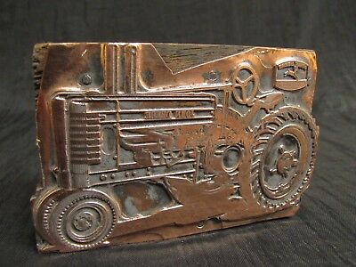 Vintage JOHN DEERE TRACTOR Advertising Print Block COPPER on WOOD