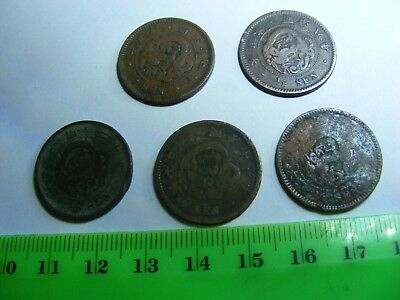 Lot of 5 DRAGON Coins,Japan,1800s...Bronze...Over 100 yr.old.