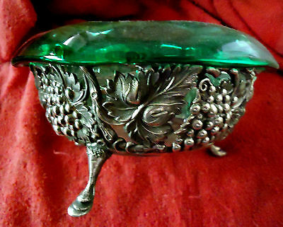 Victorian Silver bowl with green glass insert