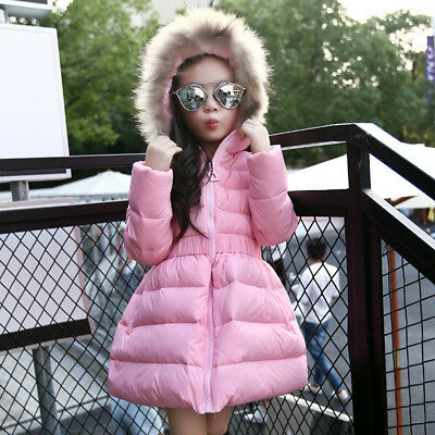 Girls Winter Cotton Down Jacket Quilted Parkas Faux Fur Hooded Padded Kids Coat