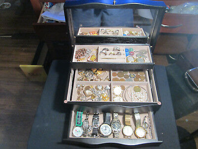 Junk Drawer Lot jewelry box 14k gold sterling old coins old watches marbles 925