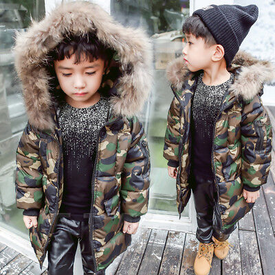 Kids Boys Fur Hooded Coat Camouflage Cotton Down Jackets Baby Winter Parka Coats
