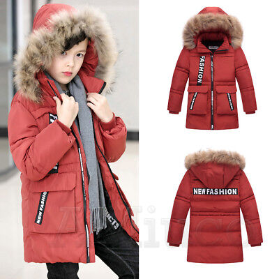 Boys Fur Collar Cotton Down Jacket Hooded Winter Jacket Childrens Outerwear Coat