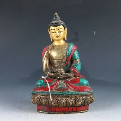 Chinese copper TurquoiseEnamel Color Whiteness Statue GL982