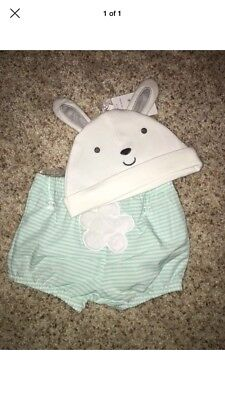 NWT Carters Baby Bunny Hat And Shorts Set Size 3-6 Months