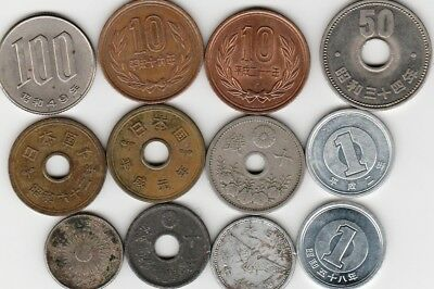 12 different world coins from JAPAN some scarce