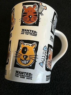 coffee mug with various images of cats and mice (funny message)