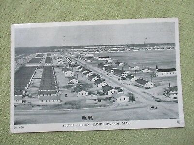 Vintage Post Card CAMP EDWARDS MA SOUTH SECTION B&W FREE POSTAGE TO SERVICE MEN