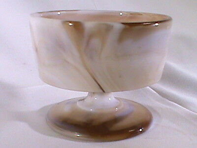 Vintage AKRO Agate Brown And White Sherbet Dish