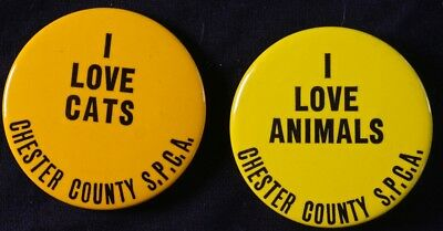 2 - I Love Animals & Cats  Cheste, Pa Spcabuttons  - Original Pinbacks
