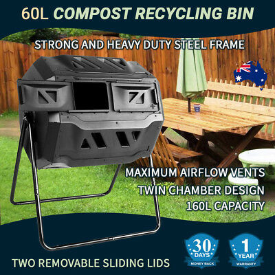 Compost Bin Tumbler 160L Composter Waste Garden Dual Aerated Chamber Recycling