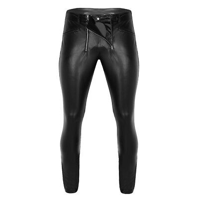Men Faux Leather Wet Look Tight Pants Punk Trousers with Zipper Pouch Underpants