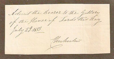 1833 Pass To The House Of Lords Signed By Lord Chichester. 100% Genuine