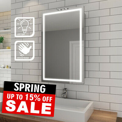 Sliding Door Led Light Up Bathroom Mirror Cabinet Shelf Wall Hanging