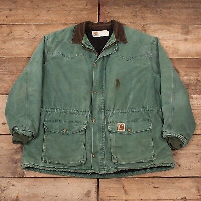 404838a158 Mens Vintage Carhartt Green Lined Workwear Chore Jacket Coat USA XXL 50