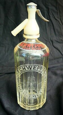 1940's Vintage Acid Etched SCHWEPPES SODA WATER SYPHON CHROME AND BAKELITE TOP