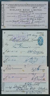 """Great Britain: Midland Bank 1936-66 """"LOT OF 8 CHEQUES"""" + Duty Stamps"""