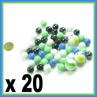 20 SOLID COLOUR SMALL ,PLAYING MARBLES ,Mixed colour BLUE WHITE BLACK GREEN