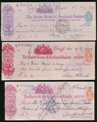 """Great Britain: Union Bank of Scotland 1898-1922 """"LOT OF 3 CHEQUES"""" + Duty Stamps"""