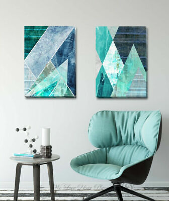 Jade Gold Geometric Stretched Canvas Print Framed Wall Art Home Office DIY Decor