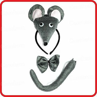 Mouse Rat Headband Hairband With Ears+Bow Tie+Tail- 3Pc Dress Up Set-Costume-2