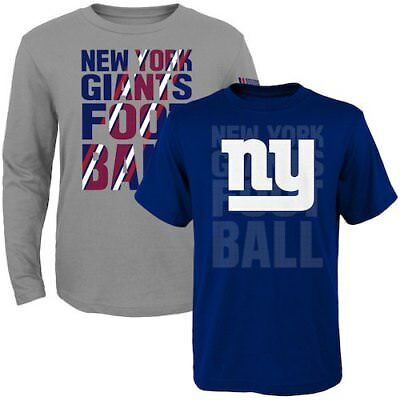 New York Giants Toddler Royal/Gray Two-Pack Playmaker Long Sleeve & Short Sleeve