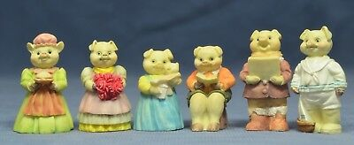 """Variety of the Sweetest Pig Figurines Set of 6  Signed J C 1991 Resin 2"""""""