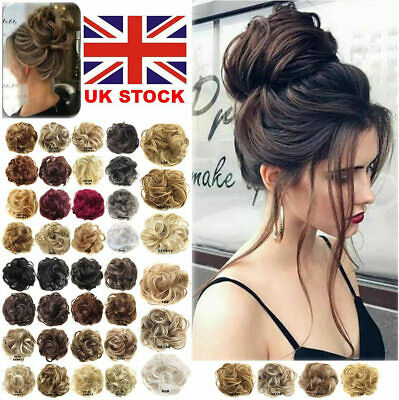 UK Scrunchie Updo Cover Hair Extensions Curly Messy Bun Hair Piece Real as human