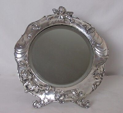 Silver Plated Art Nouveau Dresser Mirror Cherubs & Flowers Incredible