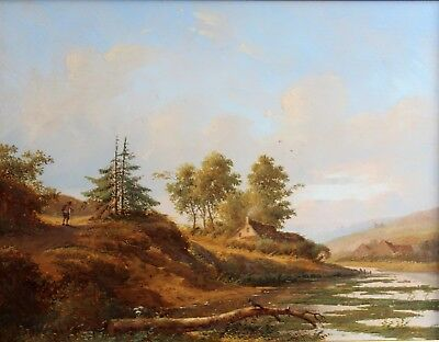Charles MAMMES, xixth, Belgium, Landscape at the pond, painting, Italy, Painting