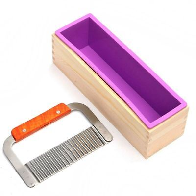 2X(Rectangle Soap Mold with Wood Box Steel Soap Cutter Cuboid Molds Handma L7T9)